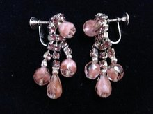 SCREW-ON EARRINGS - PINK RHINESTONE/BEADS