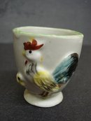 RARE ANTIQUE EGG CUP - ROOSTER & CHICK