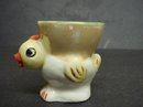 ANTIQUE FIGURAL EGG CUP -  CURIOUS CHICK