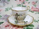 ENGLISH CHINA CUP & SAUCER - WHITE ROSE