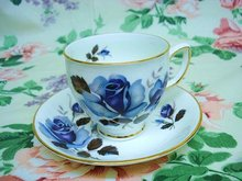 DUCHESS CHINA CUP and SAUCER - BLUE  ROSE