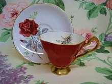 Fantastic ROYAL STAFFORD CUP and SAUCER Burgundy Color Rose
