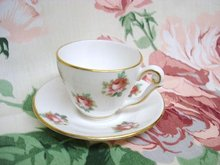 TINY ENGLISH CHINA CUP & SAUCER - ROSES