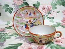 Beautiful Vintage HAND PAINTED CUP and  SAUCER  Made in  JAPAN