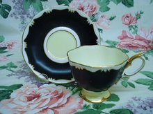 ANTIQUE ROYAL ALBERT CUP & SAUCER - BLACK