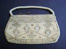 PRETTY ANTIQUE EVENING BEADED PURSE - BAG -