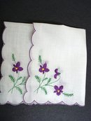 VINTAGE HANKIE-PURPLE  VIOLETS EMBROIDERY