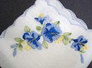 VINTAGE HANKIE - BLUE FLOWERS  EMBROIDERY