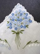 HANKIE - BLUE FLOWERS  EMBROIDERY FORGET-ME-NOT