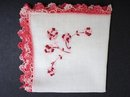 HANKIE-EMBROIDERY-PINK ROSES/LACE EDGE