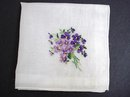 HANKIE-EMBROIDERY-PURPLE VIOLETS