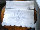 VINTAGE BLUE EMBROIDERY & CUTWORK RUNNER