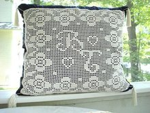 DECORATIVE PILLOW-CROCHET LACE&MONOGRAMS