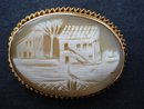 RARE ANTIQUE GOLD CAMEO OVAL BROOCH