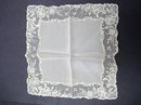 SOFT PINK SILK & WIDE LACE WEDDING HANKIE