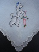 CUTE-BLUE HANKIE-EMBROIDERY-FANCY POODLE