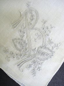 HANKIE-EXQUISITE EMBROIDERY MONOGRAM *B*