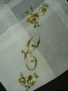 HANKIE SILK EMBROIDERY MONOGRAM *C*