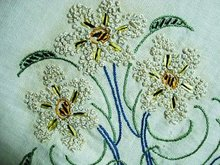 ANTIQUE TEA TABLECLOTH - SILK EMBROIDERY