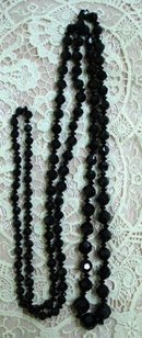 20's FRENCH BLACK JET LONG BEAD NECKLACE