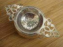 BIRKS STERLING ANTIQUE 2 PIECE TEA STRAINER