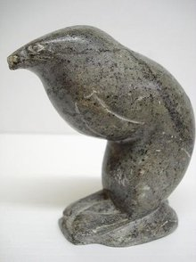 ESKIMO INUIT STONE CARVING - STANDING SEAL