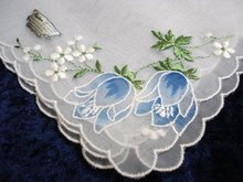 ORGANDY EMBROIDERED HANKIE - BLUE TULIPS