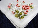 PETIT POINT EMBROIDERED HANKIE - ROSES