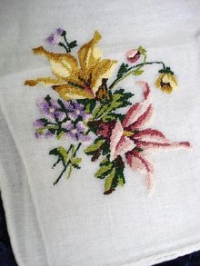 PETIT POINT EMBROIDERED HANKIE - FLOWERS