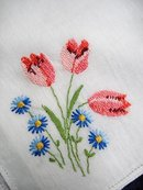 PETIT POINT EMBROIDERED HANKIE-RED TULIPS