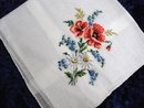 VINTAGE PETIT POINT HANKIE - RED POPPY