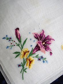 VINTAGE PETIT POINT HANKIE - PURPLE LILY