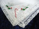 HANKIE - CHRISTMAS CANDY CANE - LACE PLUS