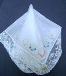 WEDDING HANKIE EMBROIDERY and LACE