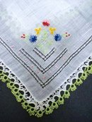 WEDDING HANKIE EMBROIDERY TATTED LACE