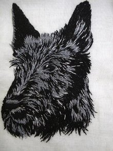 HANKIE - MASTERFUL EMBROIDERY  DOG SCOTTIE