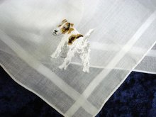 PRETTY HANKIE - BEAUTIFUL DOG - EMBROIDERY