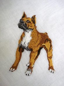 PRETTY HANKIE *FIERCE* DOG - EMBROIDERY