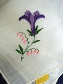 HAND MADE EMBROIDERY-HANKIE-PURPLE LILY