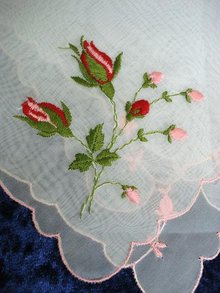 HAND EMBROIDERY ON ORGANDY - HANKIE