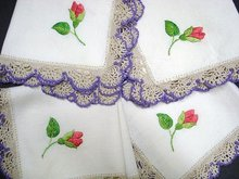 SILK THREAD EMBROIDERY & CROCHET LACE BORDER NAPKINS
