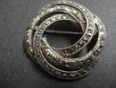LOVELY MARCASITE BROOCH - LOVERS KNOT