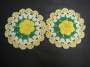 PRETTY - SET OF 2 MATCHING - HAND CROCHET POT HOLDERS
