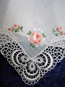 HANKIE  - PETIT POINT EMBROIDERY - PINK ROSE