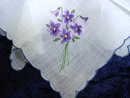 HANKIE  - FINE  EMBROIDERY - PURPLE VIOLETS