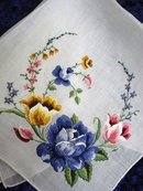 HANKIE-FINE  EMBROIDERY-BLUE ROSE/TULIPS