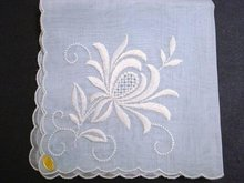VINTAGE HANKIE-EXQUISITE FLORAL EMBROIDERY