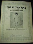 1953 SHEET MUSIC - OPEN UP YOUR HEART