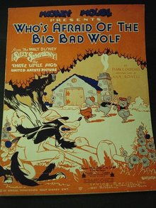 1933  SHEET MUSIC - WHO'S AFRAID... BAD WOLF