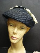 FLORAL  ANTIQUE - LADIES HAT -  NAVY BLUE
